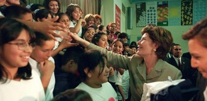 First Lady Laura Bush Greets Children